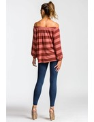 Off the Shoulder Two Toned Button Up