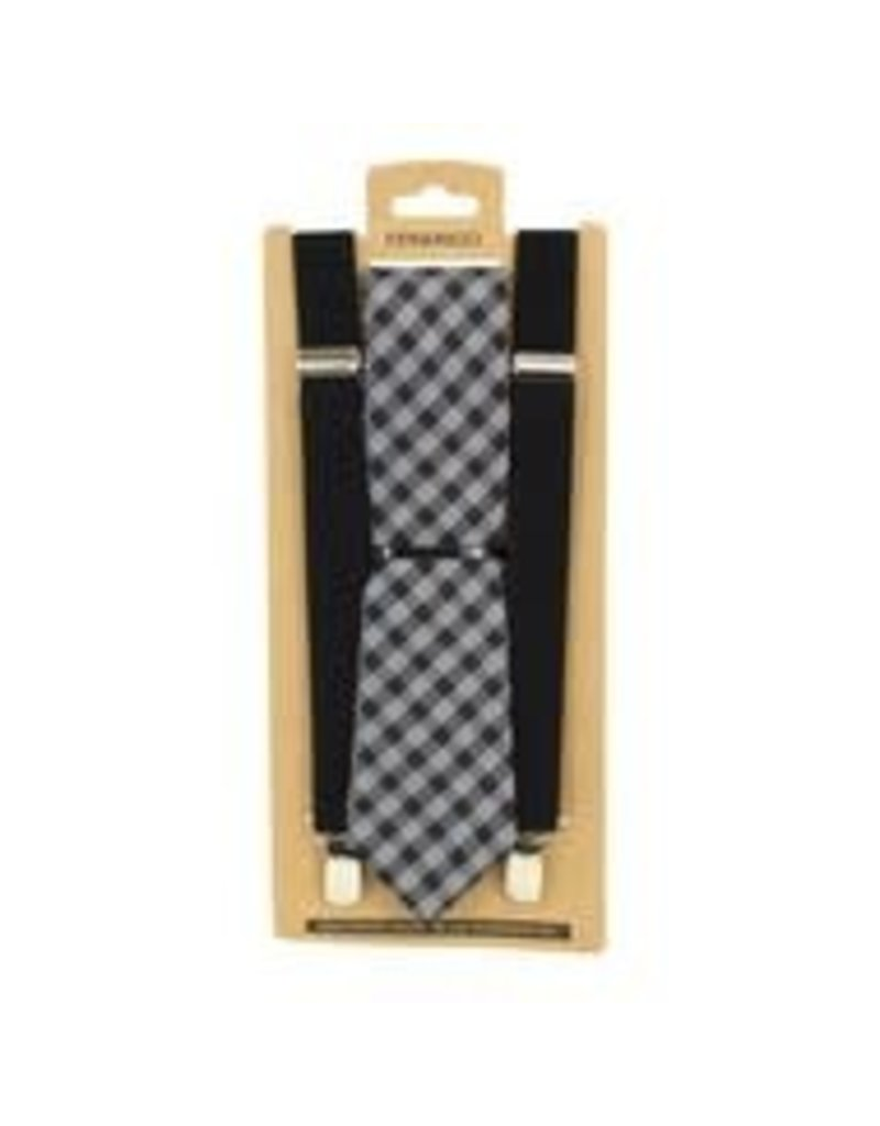 Clip On Suspenders & Necktie Set