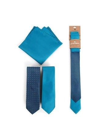 Geometric & Solid Turquoise Skinny Ties Hanky Set