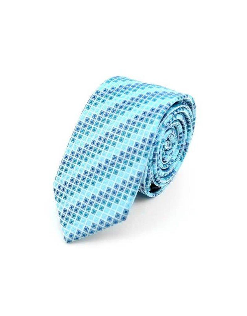Geometric Microfiber Poly Woven Slim Tie