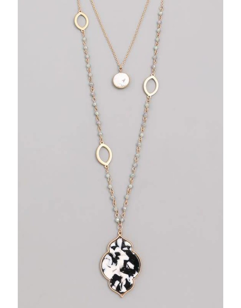 Flat Smooth Stone Lariat Necklace