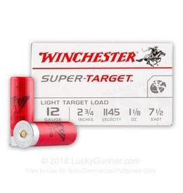 "WINCHESTER - AMMUNITION Winchester Super Target 12GA 2 3/4"" 1 11/8oz 7.5shot (Box of 25)"