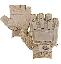VALKEN Gloves V-TAC Half Finger Plastic Back Tan XL/2XL