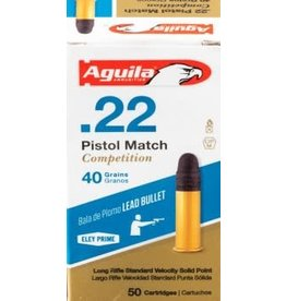 AGUILA AGUILA AMMO .22 PISTOL MATCH COMPETITION 40GR LEAD BULLET LR STANDARD VELOCITY SOLID POINT 50/BOX