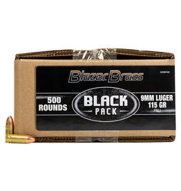 "CCI Blazer Brass ""Black Pack"" 9mm 115Gr 500 Rounds"