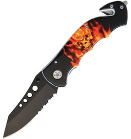 Master Cutlery Skull / Flames Linerlock MI256