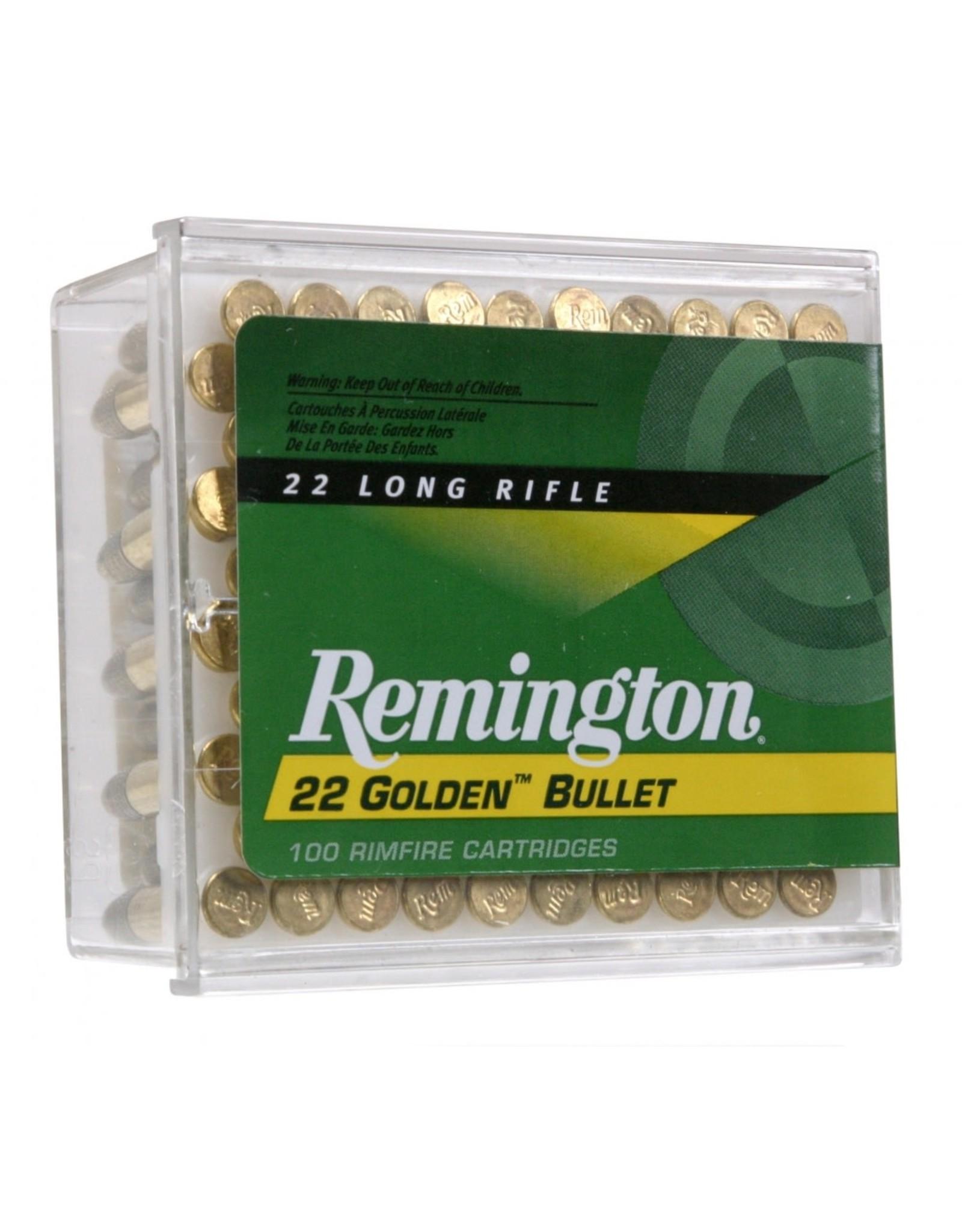 Remington Remington Golden Bullet 22LR 40gr High Velocity Plated Round Nose 100ct