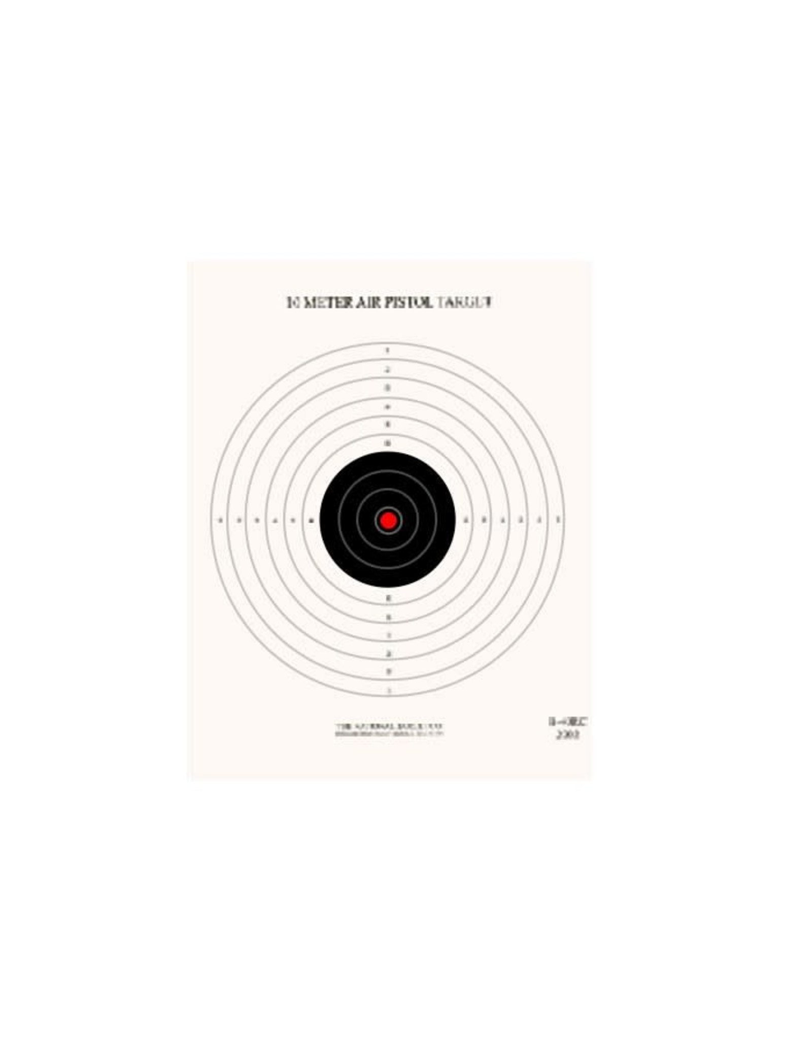 10 Meter (33') Single Bull Red Center NRA Air Pistol Target 100CT