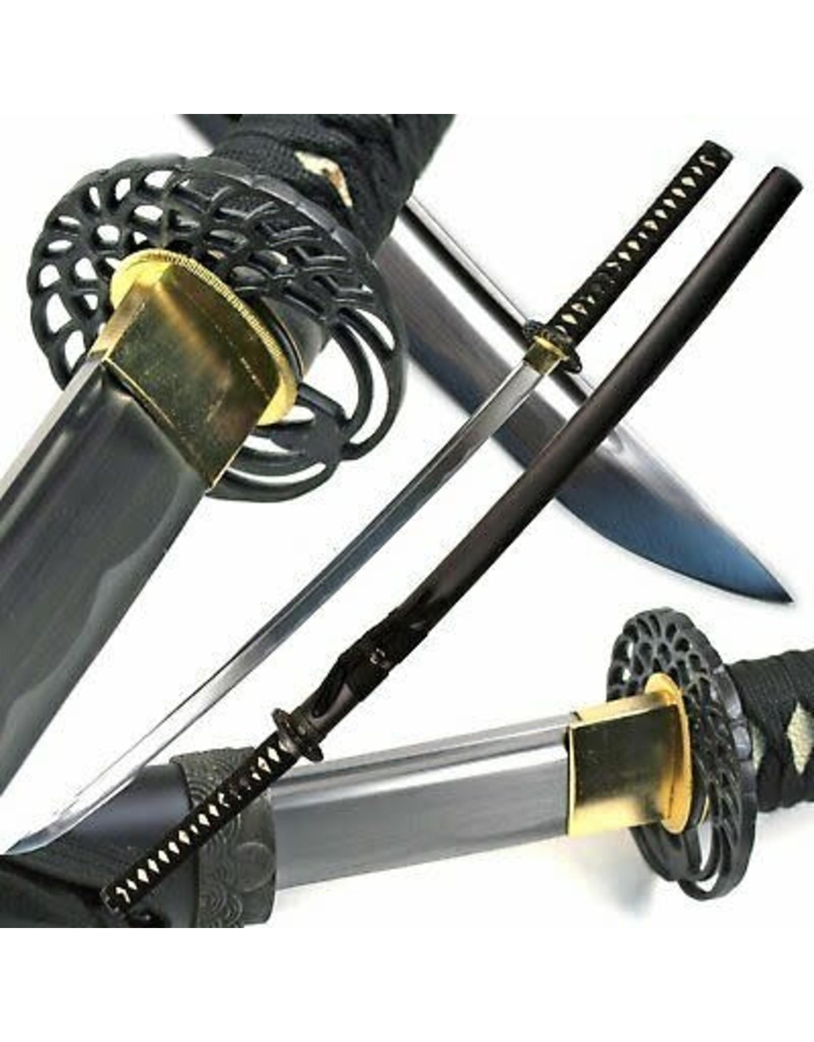 "40.5"" Handmade BLACK SAMURAI KATANA Sharp SWORD w/Classic Crane MUSASHI TSUBA"