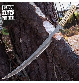 Black Ronin Tan Combat Wakizashi Sword With Injection Molded Sheath - Stonewashed Stainless Steel Blade, Cord-Wrapped Handle