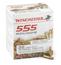 Winchester WINCHESTER 22 LR 36 GRAIN 1280 FPS HOLLOW POINT COPPER PLATED 555 ROUNDS