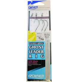 Owner Owner 5215-121 Ghost Leader Fluorocarbon 3Pk w/Bait Hk Sz2/0 30Lb Black Chrome