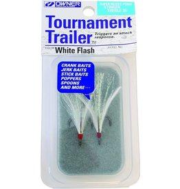Owner Owner 5165-071-01 Stinger-36 Tournament Trailer Treble Hook, Size 4, Needle Point, Black Chrome, White Flash Feather, 2 per Pack