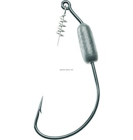 Mustad Mustad 91768S18-3/0-3U Ultrapoint Power Lock Plus Weighted Hook With Spring Gripper, Size 3/0, 1/8 oz, Needle Point, Black Nickel, 3 per Pack