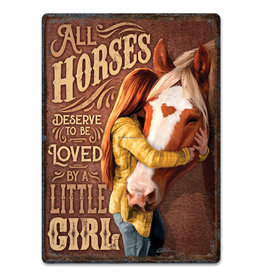 Rivers Edge Rivers Edge 2672 Tin Sign 12in x 17in - Horse Little Girl