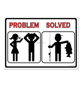 Rivers Edge Rivers Edge 2266 Tin Sign 12in x 17in - Problem Solved Fish