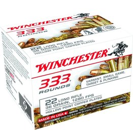 Winchester Winchester 22LR333HP Rimfire Ammo 22 LR, CPHP, 36 Grains, 1280 fps, 333 Rounds, Boxed
