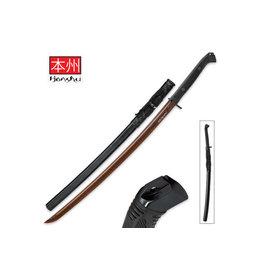 "Honshu Honshu Boshin HellFyre Damascus Handmade Wakizashi Sword - Hand Forged HellFyre Damascus Steel, Exclusive Metallurgical Process - Full Tang, Modern Tactical - TPR Grip, Wooden Saya - 34"""