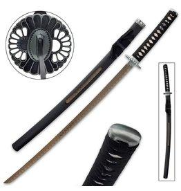 "Samurai Gold Warrior Katana And Open Scabbard - Stainless Steel Blade, Cord-Wrapped Handle, Metal Tsuba - Length 40"""
