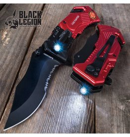 Black Legion Black Legion Firefighter Everyday Carry Pocket Knife with Built-In Flashlight