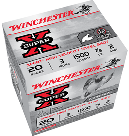 """Winchester 20GA Winchester Super X  3"""" 7/8 OZ. #2 STEEL"""