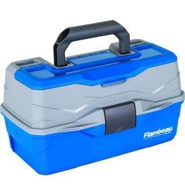 Flambeau Flambeau 6382TB 2-Tray Hard Tackle Box-Blue, w/Flip-top lid accessory compartment