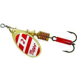 Mepps Mepps B2 G/RW Aglia In-Line Spinner, 1/6 oz, Plain Treble Hook, Gold/Red/White Blade