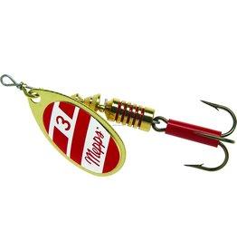 Mepps Mepps B3 G/RW Aglia In-Line Spinner, 1/4 oz, Plain Treble Hook, Gold/Red/White Blade