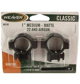 """Weaver Weaver 49192 Hunting Scopes Rings 1"""" Medium - Matte .22 and Airgun"""