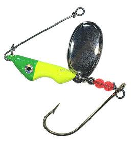 Shur Strike Shur Strike SHR-ESP58-LL Erie Spinner, 5/8oz, Mustad Gold Hook, Holographic Eyes, UV Clear Coat, Lemon Lime