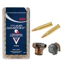 CCI Ammunition CCI AMMO GAMEPOINT 17 HMR 20GR JACKETED SOFT POINT 50/BX