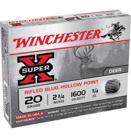 Winchester WINCHESTER SUPER-X AMMO RIFLED SLUG HOLLOW POINT 20GA 2.75IN .75OZ  5/BX