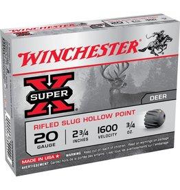 "Winchester WINCHESTER SUPER-X RIFLED SLUG HP 20GA 2 3/4"" 3/4 OZ  5/BX"
