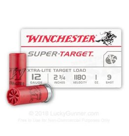 Winchester WINCHESTER  AMMO SUPER-TARGET XTRA LITE TARGET LOAD 12G 2 3/4 INCHES 1180 VELOCITY 1oz 9 SHOT 25/BOX