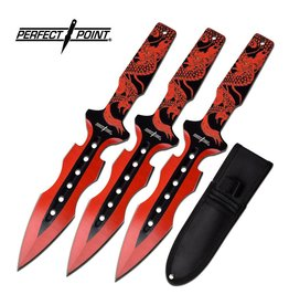 Master Cutlery Perfect Point - Red Dragon Throwing Knife Set 3 PP-122-3RD