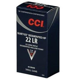 CCI CCI AMMO QUIET-22 SEGMENTED HP 22 LR 40GR SEGMENTED HOLLOW POINT 710FPS 500 CARTRIDGES