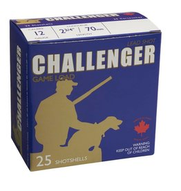 "Challenger CHALLENGER LEAD GAME LOAD 12G 2 3/4"" LENGTH 6 SHOT 1 1/8 OZ 25/BX"