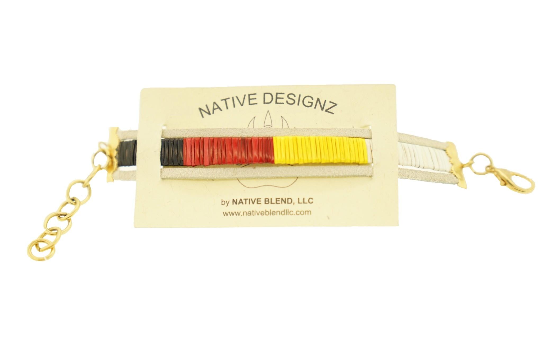 Native Designz Quill-Birch-Leather Medicine Wheel Bracelet