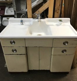 R&F Cast Iron Drainboard Sink w/ Steel Cabinet