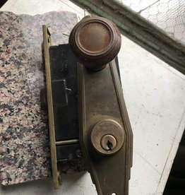 R&F Art Deco knob w/ E. Plates & Mortise Lock for Exterior Door
