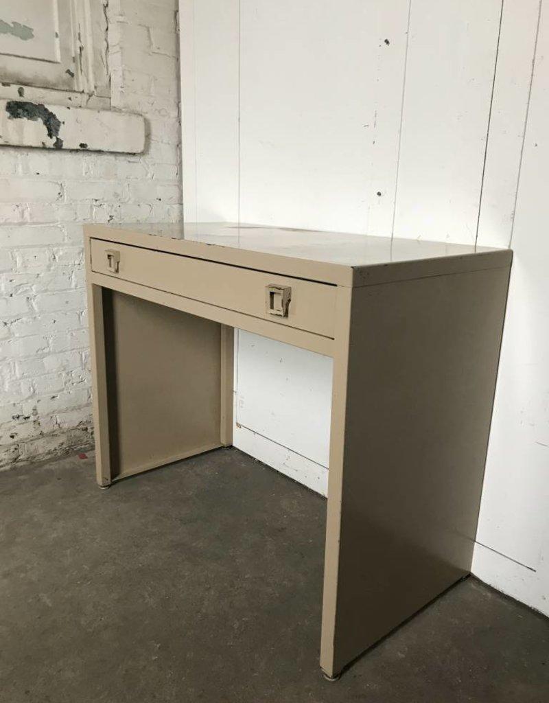 R&F Metal Mid Century Desk - One Drawer - Tan
