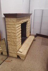 R&F Faux Cement Fireplace W/Wooden Mantel