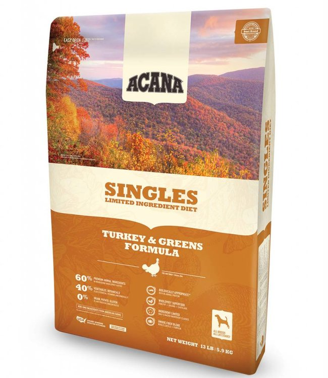 Acana Dog Singles Turkey & Greens Formula 13lbs