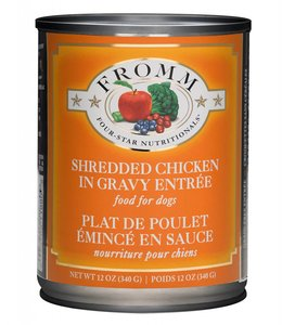 Fromm Dog Four-Star Shredded Chicken In Gravy Entree 12oz