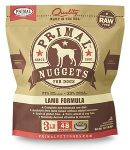 Primal Frozen Raw Dog Lamb Nuggets 3lbs