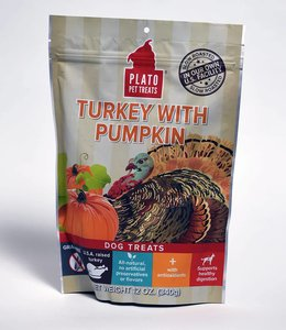 Plato Turkey With Pumpkin Dog Treats 12oz