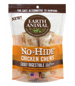 "Earth Animal No-Hide 4"" Chicken Dog Chews 2 Pack"