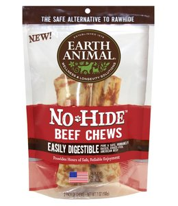 """Earth Animal No-Hide 7"""" Beef Dog Chew 2 Pack"""