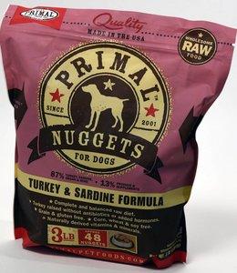 Primal Frozen Raw Dog Turkey & Sardine Nuggets 3lbs