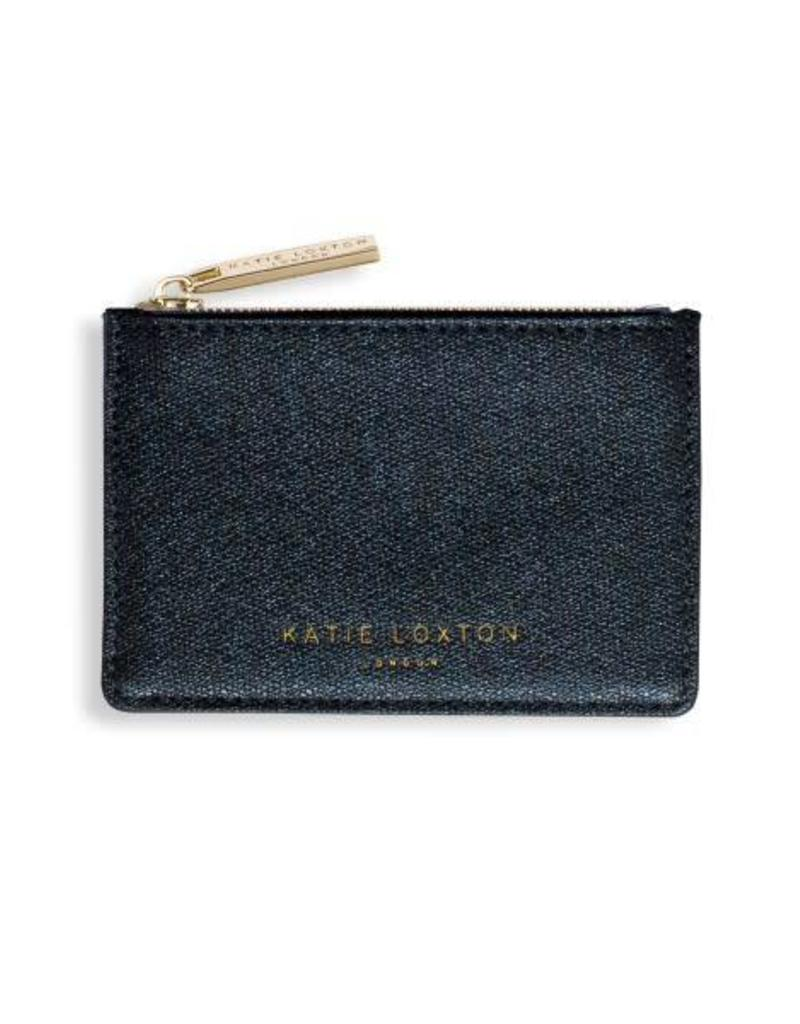 KATIE LOXTON KLB420 ALEXA METALLIC CARD HOLDER WITH SMALL ZIP FOR COINS - SHINY BLUE